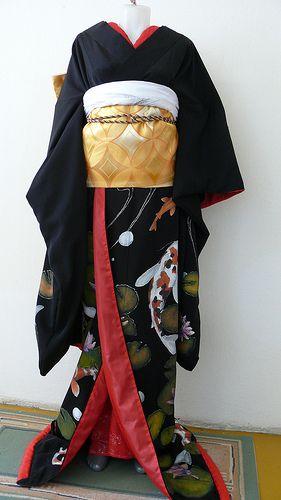 black kimono with the obi