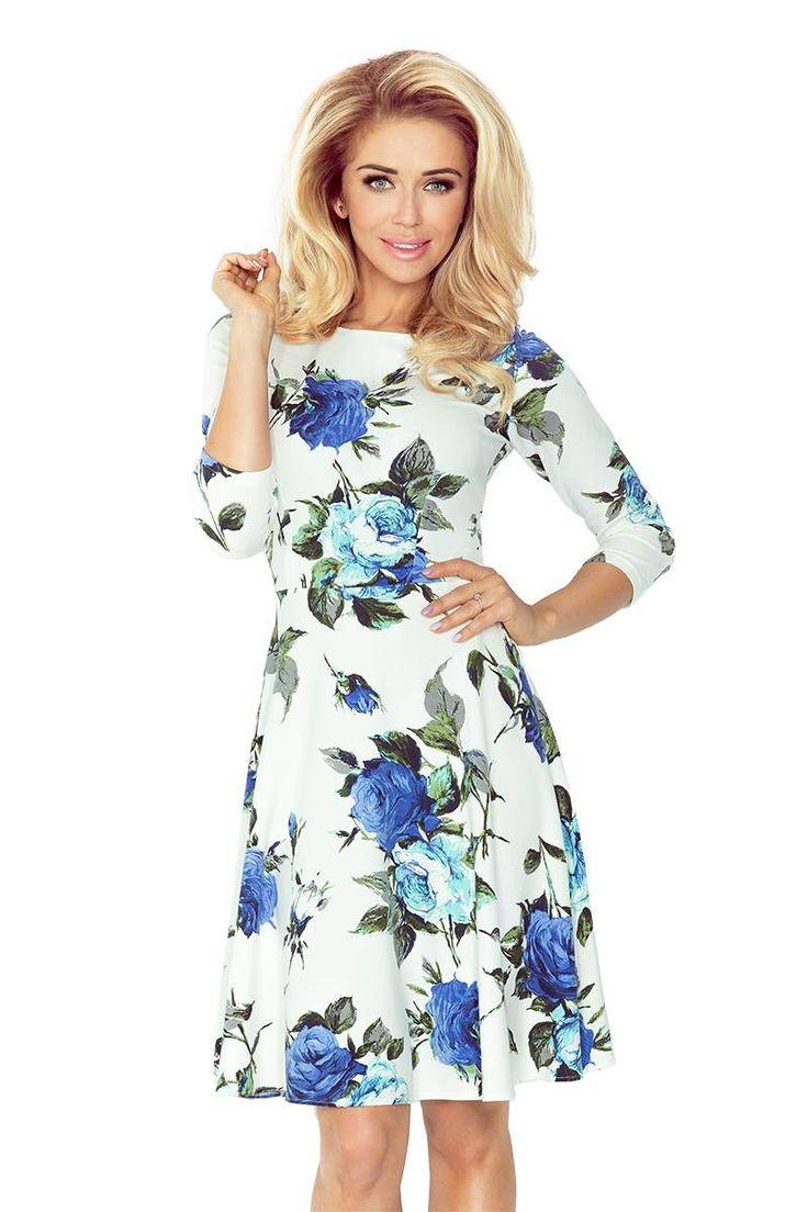Rozkloszowana Sukienka w Niebieskie Kwiaty NU49-18