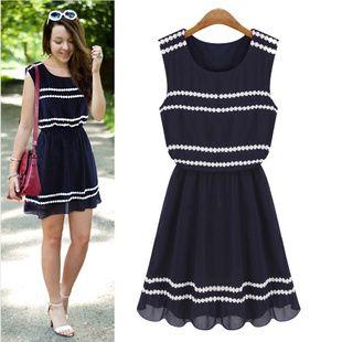 European Summer Fashion Lace Chiffon Dress
