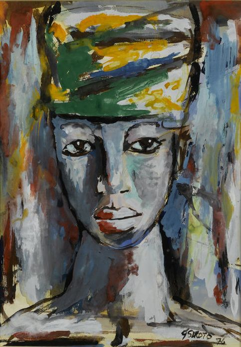 By Gerard Sekoto (1913-1993, South African), 1976, Woman's head, gouache.