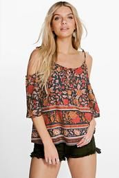 Jackie Printed Woven Cold Shoulder Woven Top