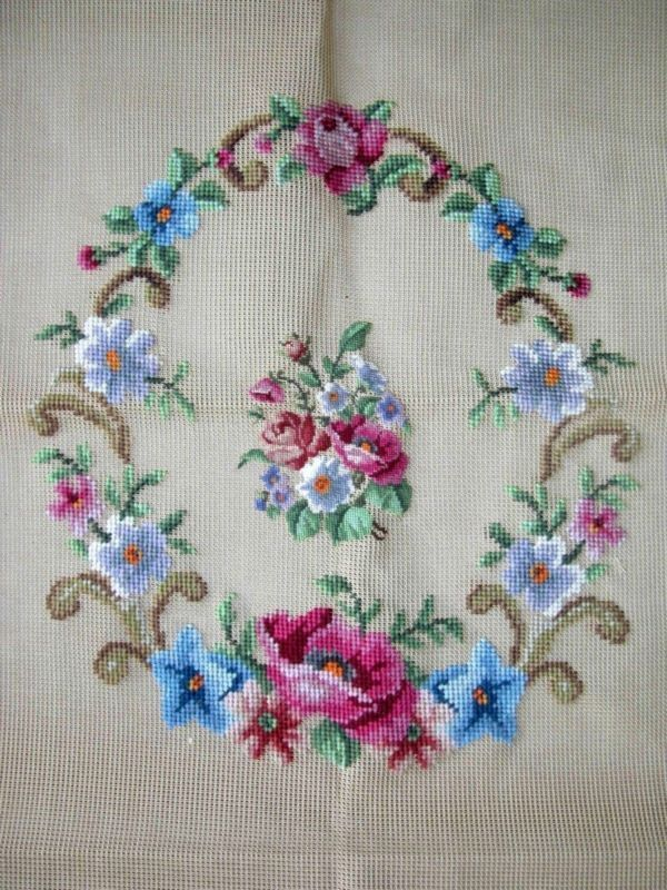 EP WP854 Vintage Floral Bouquet 2pc Chair Seat Set Preworked Needlepoint Canvas