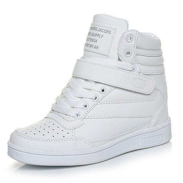 Mujer Clásico Zapatillas de Cuña Zapatos Deportivos Alta Interior Talón Plataforma 7 CM Blanco 37