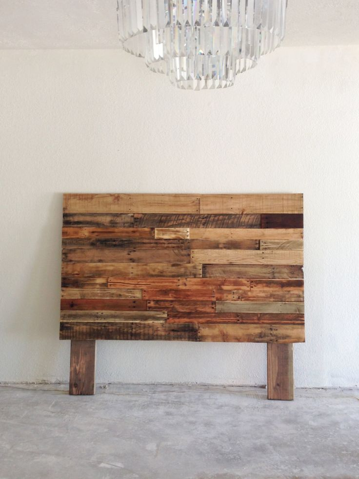 Reclaimed recycled pallet wood headboard head board king for Recycled headboards