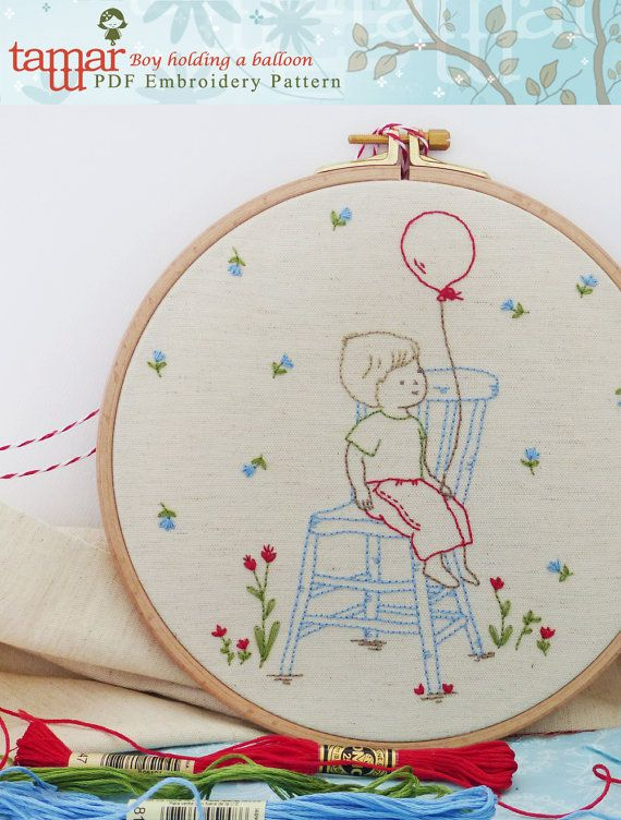 Embroidery Pattern, Instant Download, Needlecraft Design - Boy holding a balloon