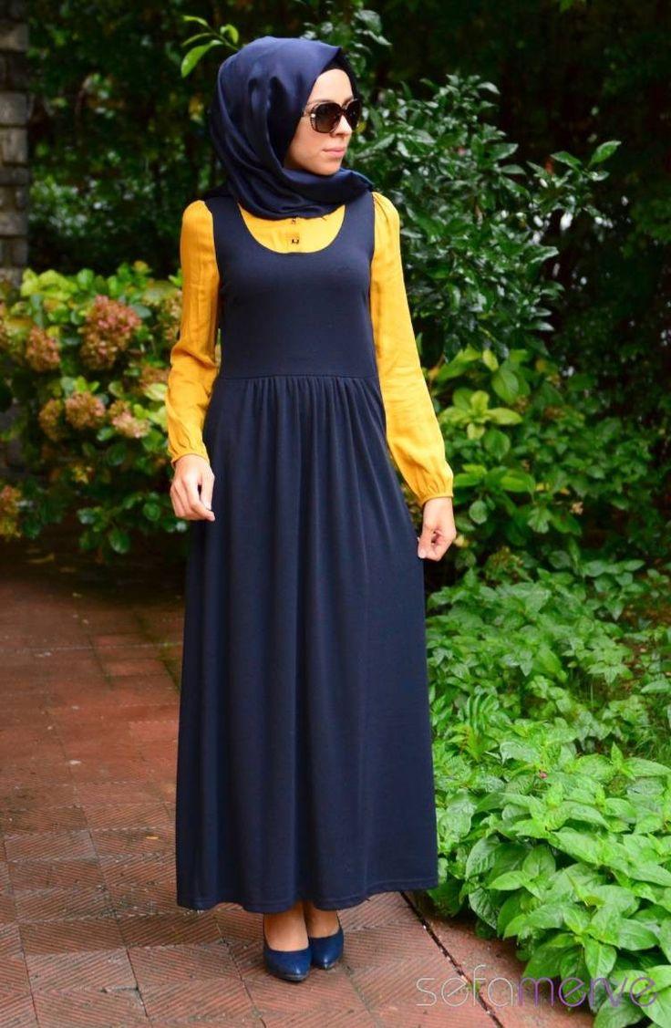Tesettür Elbise WB 5401-07 Safran Lacivert