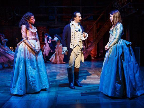 Renee Elise Goldsberry, Lin-Manuel Miranda and Phillipa Soo in HAMILTON