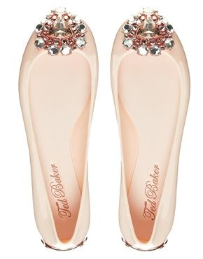 Ted Baker Jemmee Embellished Nude Flat Jelly Shoes - Asos - $137.12