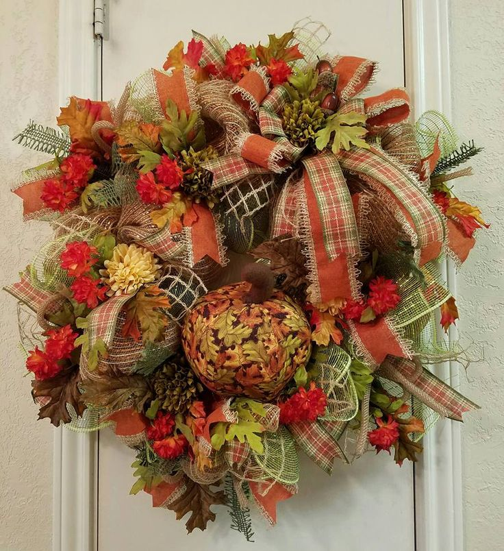 Welcome Guests With Fall Door Decorations: Fall Pumpkin Wreath, Thanksgiving Wreath, Welcome Wreath