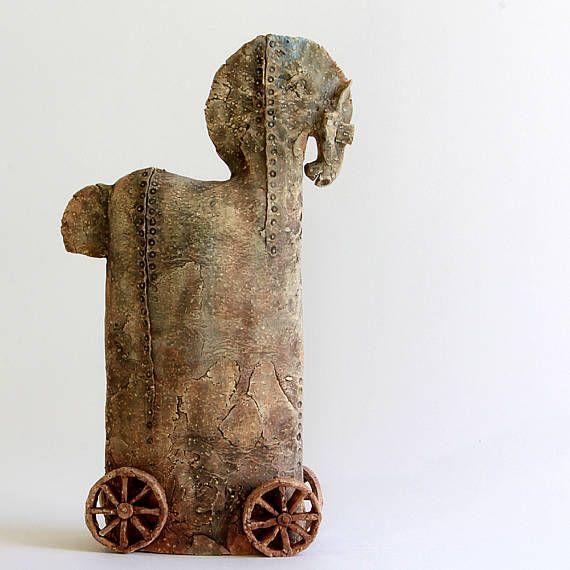 Trojan Horse 723 Ceramic Sculpture Unique Ceramic Figurine