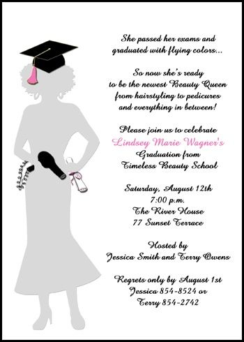 beauty school cosmetology graduation announcement and invitation cards with hair stylist blower and hat for graduating commencement and graduate ceremony at InvitationsByU, our card number 7640IBU-OT