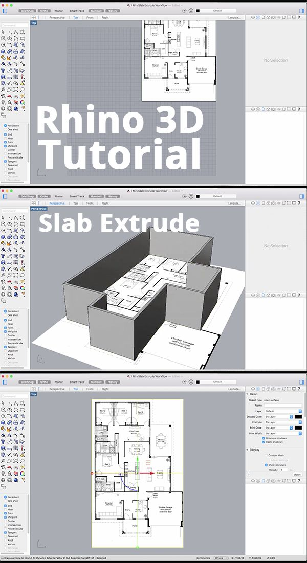 The Best Way To Get 2d Architectural Plans Up And Running Is The Slab Extrude Command Importing The Plans As Rhino Architecture Rhino Software Rhino Tutorial