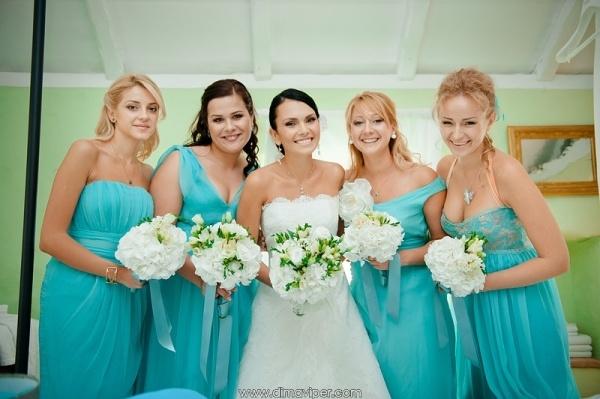 свадьба в стиле Тиффани  подружки невесты #wedding #Croatia #sea #summer #blue