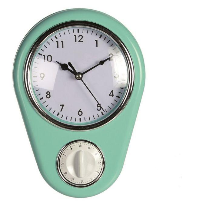 Küchen Wand Uhr, Küchenuhr mit Kurzzeitmesser / Eieruhr, Retro Design,TÜRKIS,NEU