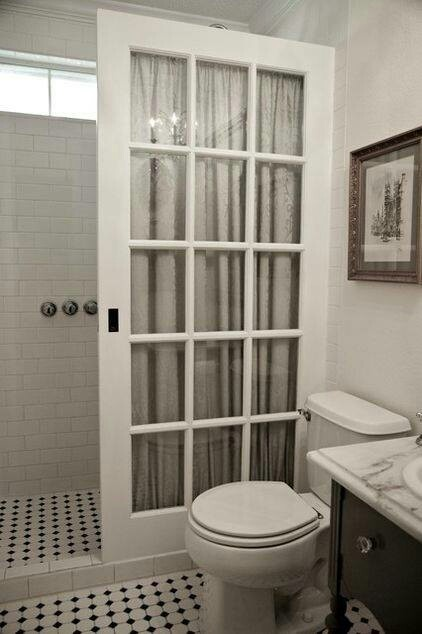 Old French door as shower curtain, Bathroom design ...