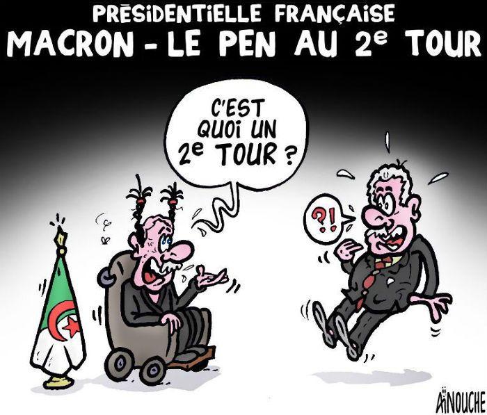 Aïnouche  (2016-04-24)  France: Présidentielle française: Macron - Le Pen au 2e tour, vue d'Algérie - Caricature de Aïnouche du 24-04-2017   Presse-dz