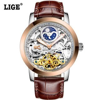 LIGE Brand Mens watches Moon phase Tourbillon Hollow Automatic Watch Men Waterproof Casual Business Leather Wrist watches (32673554157)  SEE MORE  #SuperDeals
