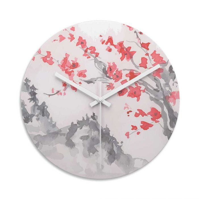 Japanese Blossom Glass Wall Art Clock.  Toughened glass wall clock are perfect for homes and offices. They look fantastic with photographs and art designs.  #clock   #wallclock  #cool  #lovecoolgifts   #loveart