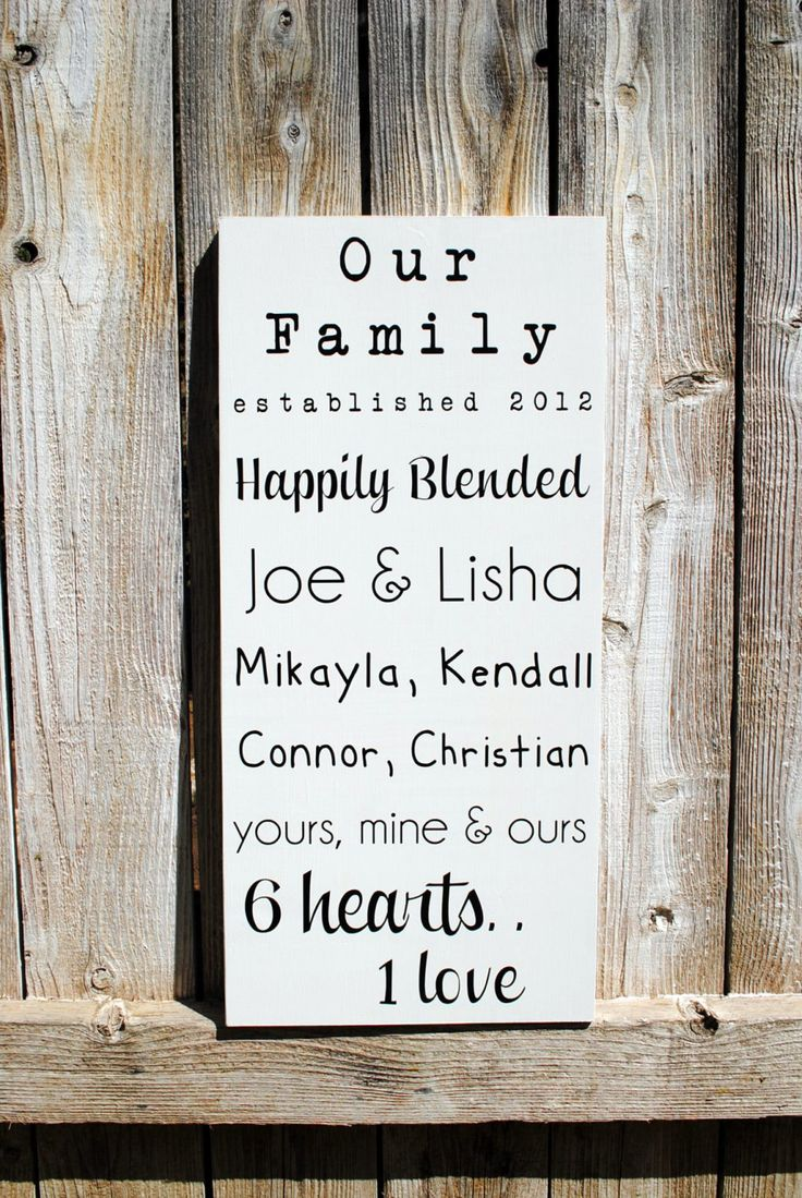 Blended Family Sign Established date sign with family names. $49.95, via Etsy.