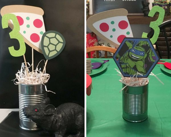 emptynesthomegoods.com / TMNT party favor ideas / Ninja Turtle third birthday party / plastic rats as TMNT party decor / TMNT party ideas / Ninja Turtle centerpieces / Heroes in a Half Shell