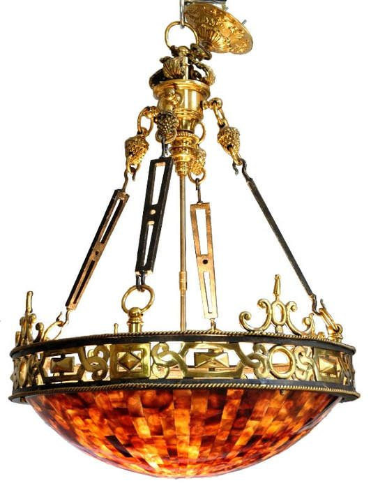 Maitland Smith Brass And Iron Empire Style Chandelier With Penshell Inlaid Bowl