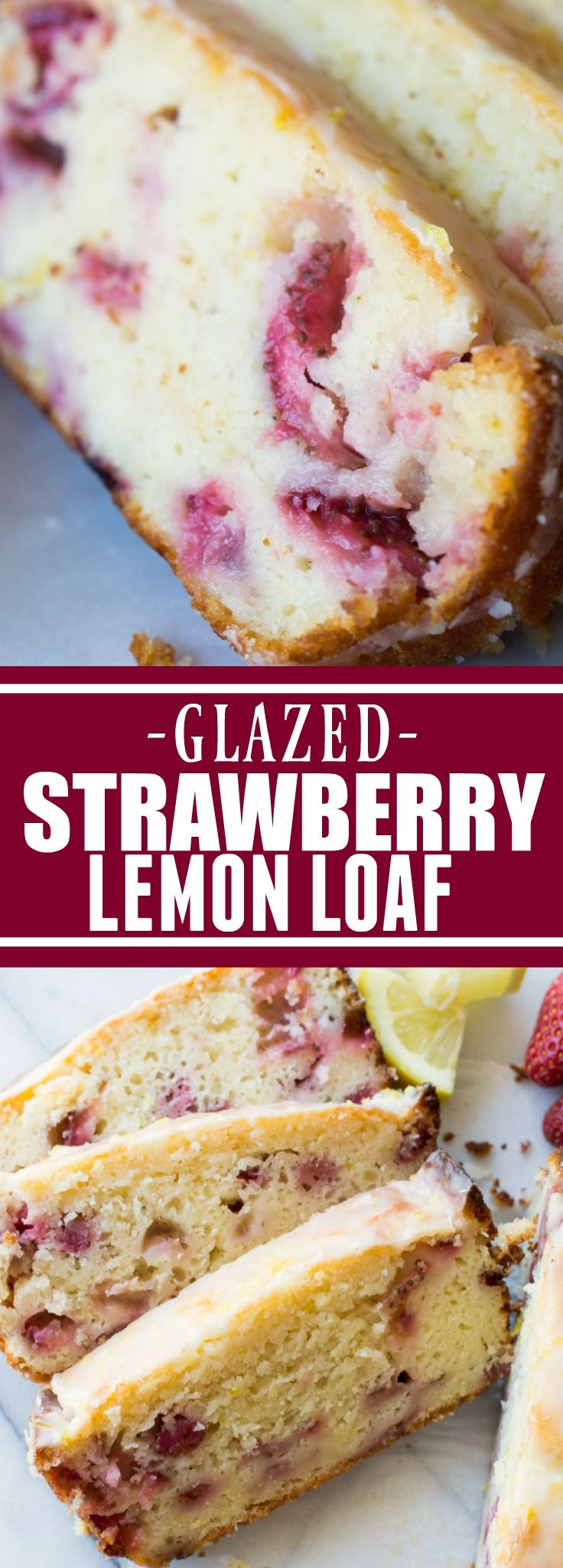 Glazed Strawberry Lemon Loaf! This easy to make loaf cake is loaded with lemon flavor thanks to fresh juice and zest. Plus there's sweet and juicy strawberries baked right in! All topped with a decadent drizzle of a lemon glaze. This bright and sweet loaf cake will be the highlight of your day! #TheBeautyAddict