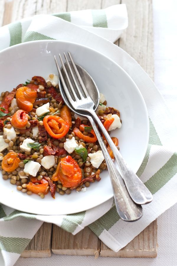 Lentils and Roasted Peppers with Goat Cheese: This combination of lentils, red peppers, and goat cheese would also make an amazing crostini topping.