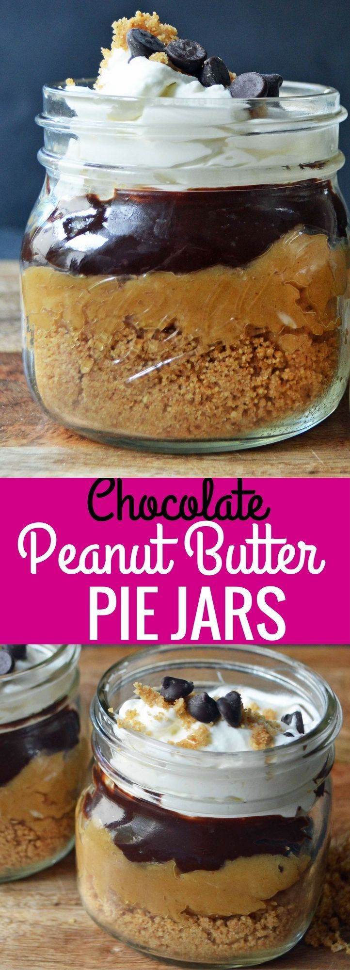 Chocolate Peanut Butter Cream Pie Jars. Graham Cracker Crust, Peanut Butter Cream, Chocolate Ganache, and Whipped Cream all in one jar. The chocolate peanut butter lovers will go crazy over this dessert! Pie in a jar is so easy! http://www.modernhoney.com