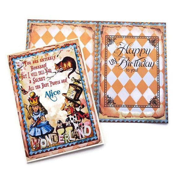 Alice in Wonderland Un-Birthday Card Cheshire Cat Tea