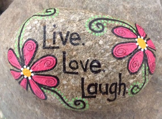 Hand Painted River Rock Stone - Live. Love. Laugh. Happy Rock - pink flowers…