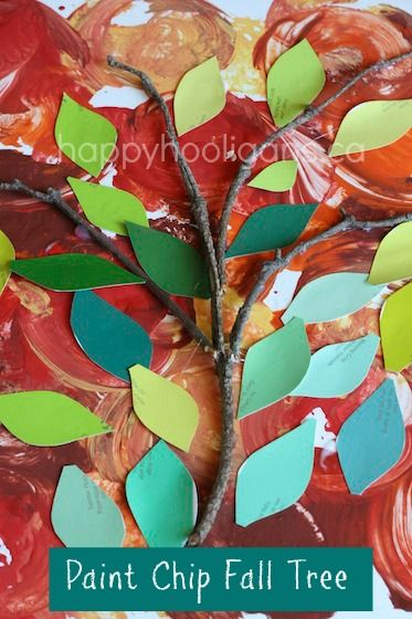 This!!! Peacock colors!!! Different shapes. paint chip apple tree - happy hooligans - twig and paint chip collage