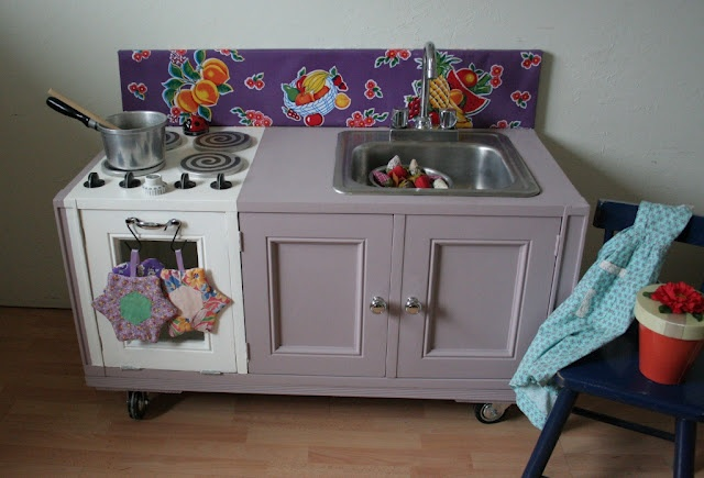 The play kitchen I made for my grandkids.