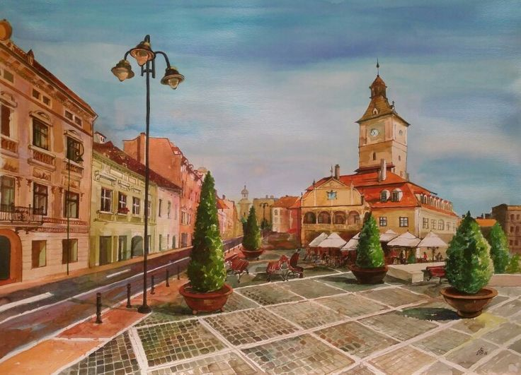 Brasov City, Romania.Watercolor by Gabriela Calinoiu.  www.picturipeisaje.wordpress.com