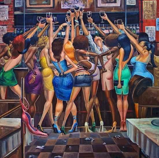 """""""Ladies Night"""" by Frank Morrison. A new Limited Edition art print. Geez, where was I when all this was going down. I like the way the bartender is getting in on the action and the lady in the blue dress in the middle with two glasses....LOL. Now available for: $450.00"""