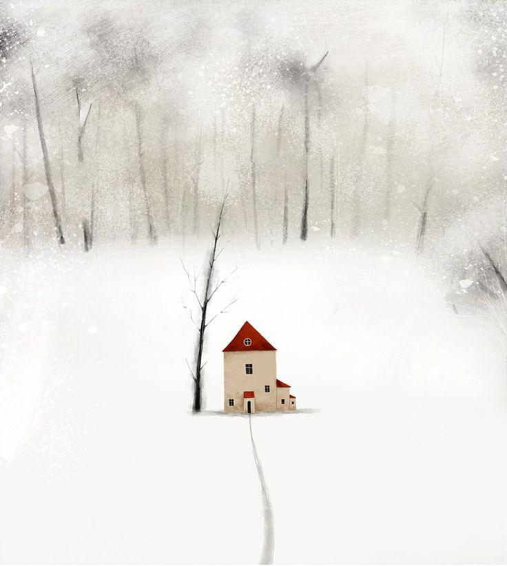 Little house in the snowy wood.... Julia Pilipchatina (-- winter, illustration, art)