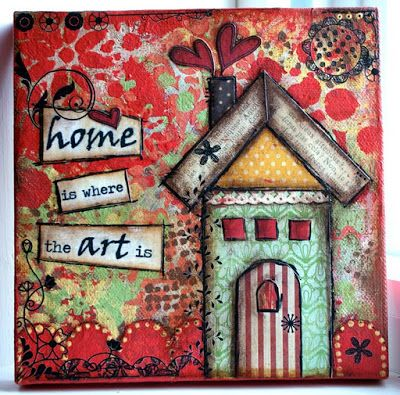 Crafty Little Pigtails: Mixed media art