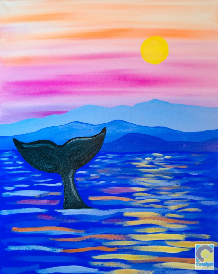 Whale tail adult painting parties pinterest whale for Easy watercolor ideas for kids