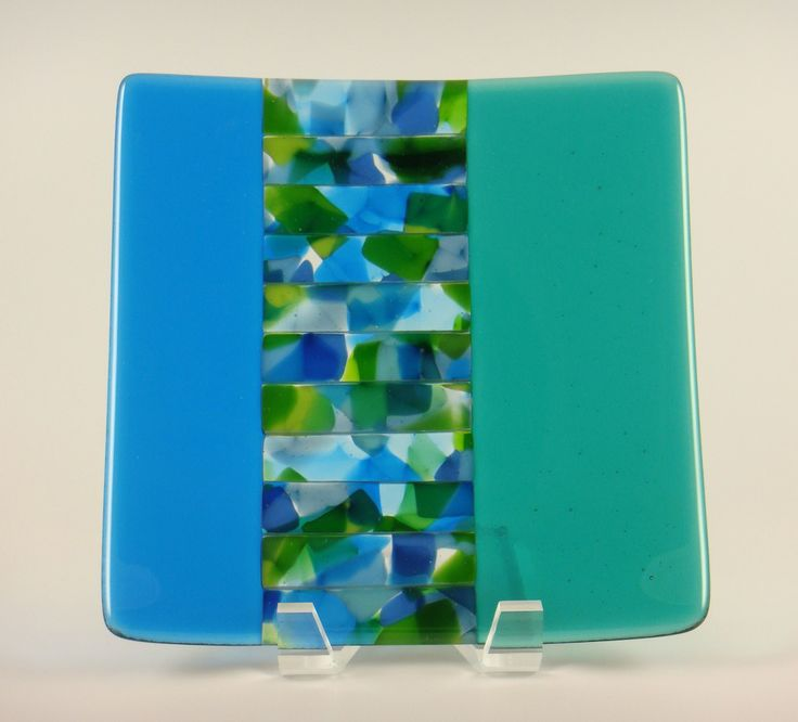 Fused glass plate, it reminds me of the ocean.