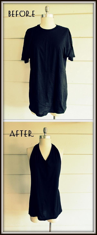 DIY Clothes Refashion: DIY No Sew, Tee Shirt- Tied Halter