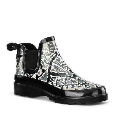 Loving this Jet Black & White Rhyme Rain Boot on #zulily! #zulilyfinds