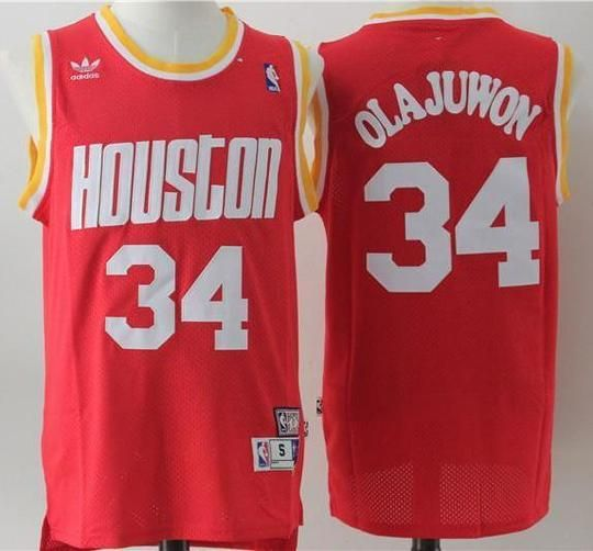 timeless design 88eaa 8f724 Men 34 Hakeem Olajuwon Jersey Red Houston Rockets Swingman ...