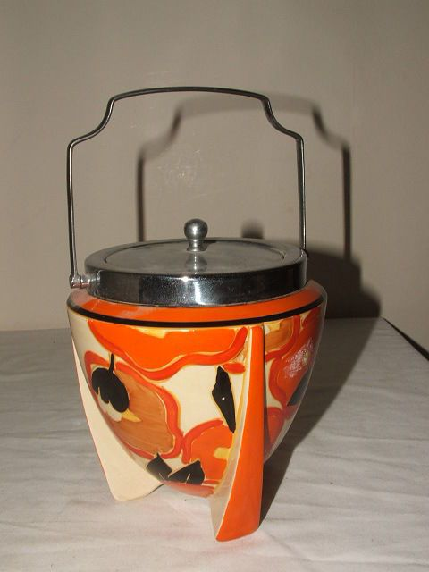 CLARICE CLIFF ART DECO FANTASQUE ORANGE CHINTZ  ROCKET SHAPED BISCUIT BARREL  #BiscuitBarrels