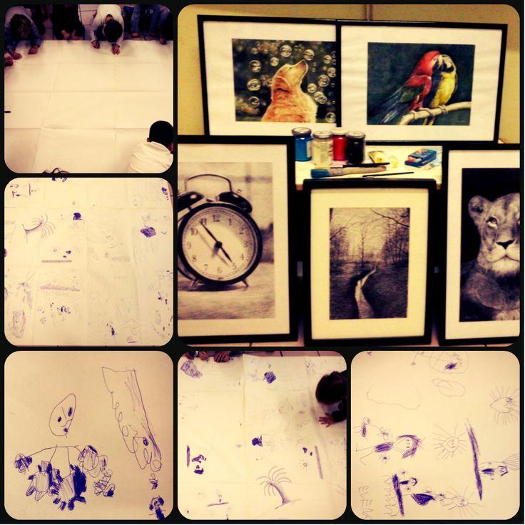Prendendo spunto dai quadri dell'artista i bambini della scuola dell'infanzia realizzano il loro disegno utilizzando semplicemente..una penna bic