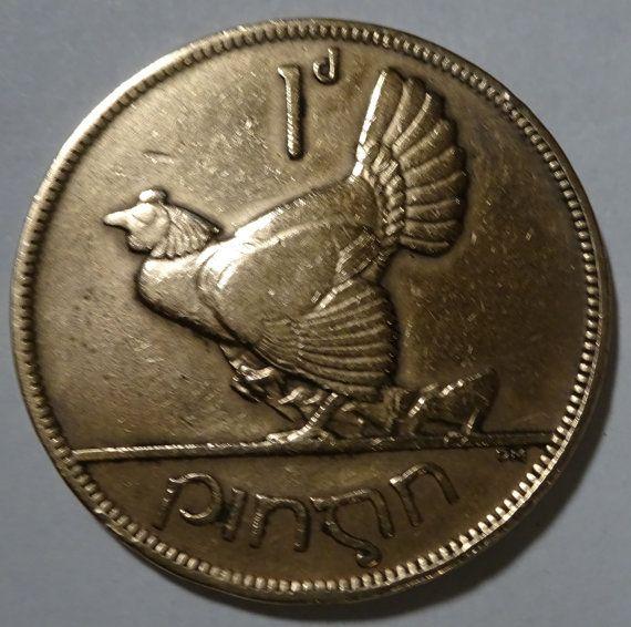 Vintage Ireland Penny Coin 1928 Hen Design  Saorstat Eireann