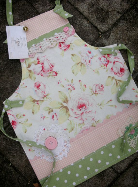 Girls Aprons - Cottage Chic Aprons - Lacey Aprons with Pink Roses - Vintage Linens Apron - Shabby Chic Aprons - Annies Attic Aprons