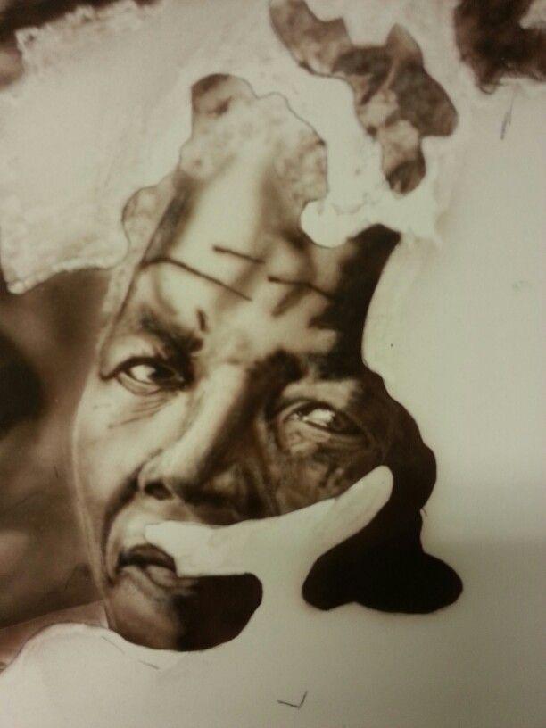 We are the World #6 -  detail Mandela (27.7.15), Schoellershammer G4 board, 100x100 cm, Melissa's Burnt Umber, Iwata Micron Custom cm sb 2