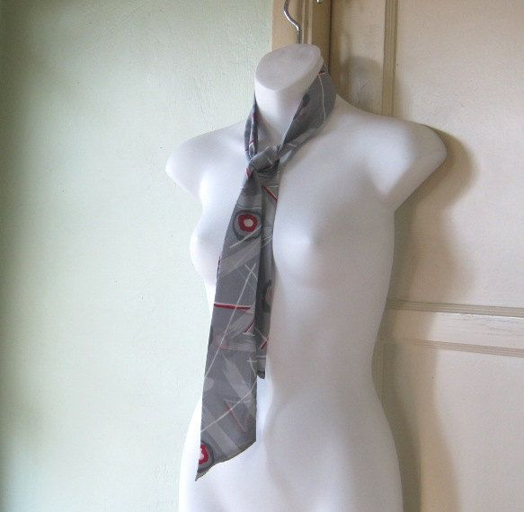 Slate Grey Geometric Print Scarf or Neck Tie - Grey Women's Neck Tie - Abstract/Geo Print Grey Silky Head Scarf by LittleVintageStories on Etsy
