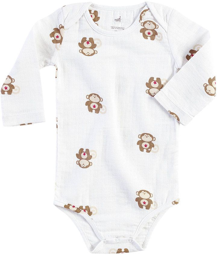 aden by aden + anais Printed Long Sleeve Lap Shoulder Bodysuit - Brown, Size 3-6m
