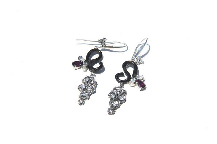 """#jewelry #jewellery Earrings """"Hetaera"""". Black coral. Sterling silver. Moonstones. Rhodolites. CZ. By Donna Yolka"""