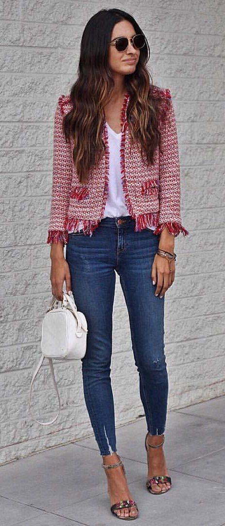 #summer #outfits Tweed Jacket + White Top + Navy Skinny Jeans